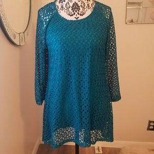 NWT Notations Turquoise Tunic Top